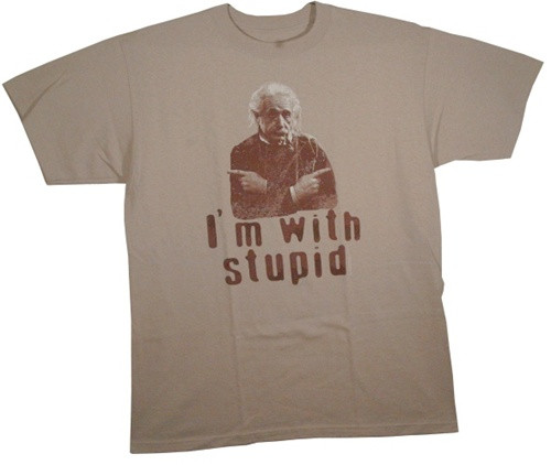 Image Closeup for Albert Einstein I'm with stupid X2 T-Shirt