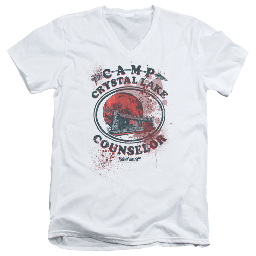 Image for Friday the 13th V Neck T-Shirt - Camp Crystal Lake Victim
