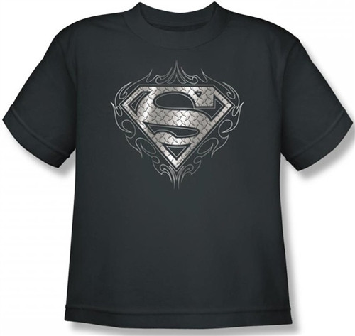 Image for Superman Youth T-Shirt - Tribal Steel Logo
