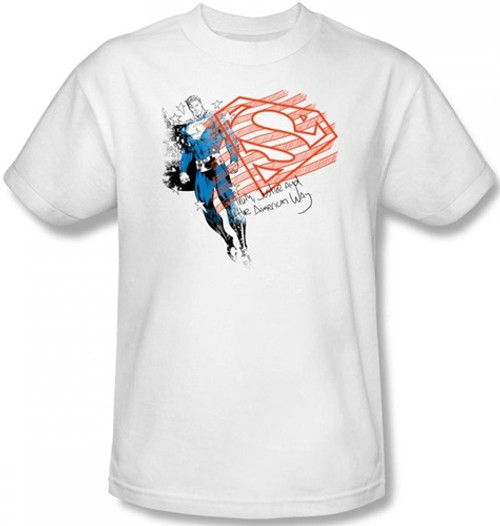 Image Closeup for Superman T-Shirt - Super American Flag