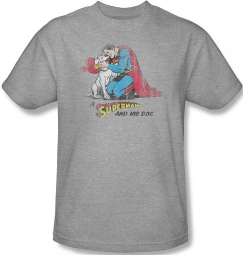 Image Closeup for Superman T-Shirt - A Superman & His Dog