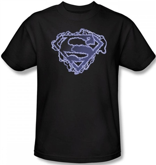 Image Closeup for Superman T-Shirt - Electric Supes Shield Logo