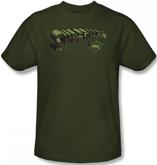 Image Closeup for Superman T-Shirt - Camo & Shield Logo