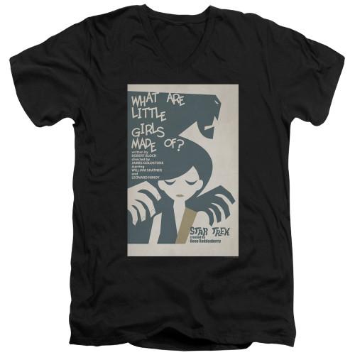 Image for Star Trek Juan Ortiz Episode Poster V Neck T-Shirt - Ep. 7 What Are Little Girls Made Of on Black