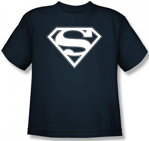 Image for Superman Youth T-Shirt - Navy & White Shield Logo