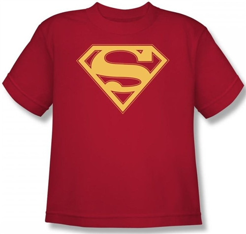 Image for Superman Youth T-Shirt - Red & Gold Shield Logo
