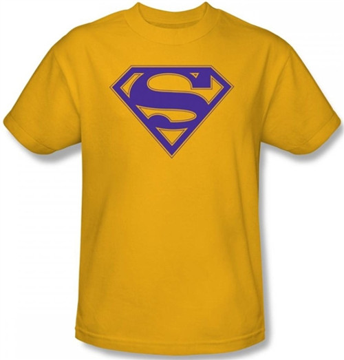 Image for Superman T-Shirt - Purple & Gold Shield Logo