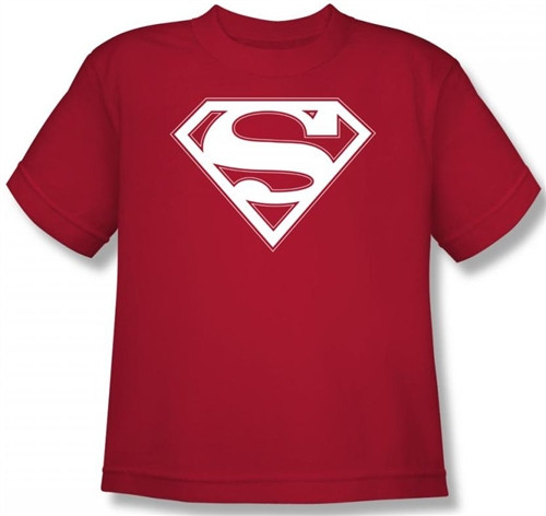 Image for Superman Kids T-Shirt - Red & White Shield Logo