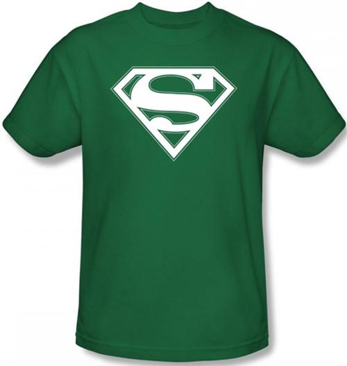 Image Closeup for Superman T-Shirt - Green & White Shield Logo
