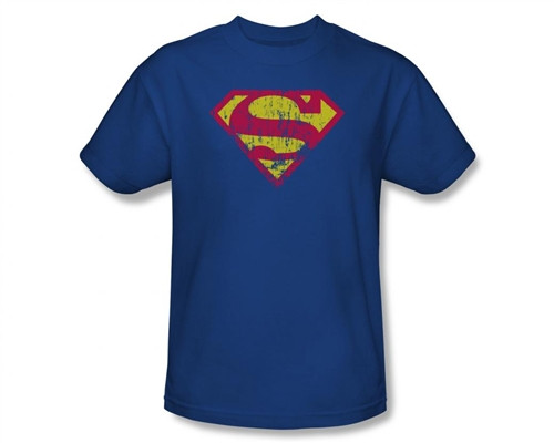 Image Closeup for Superman T-Shirt - Classic Logo Distressed