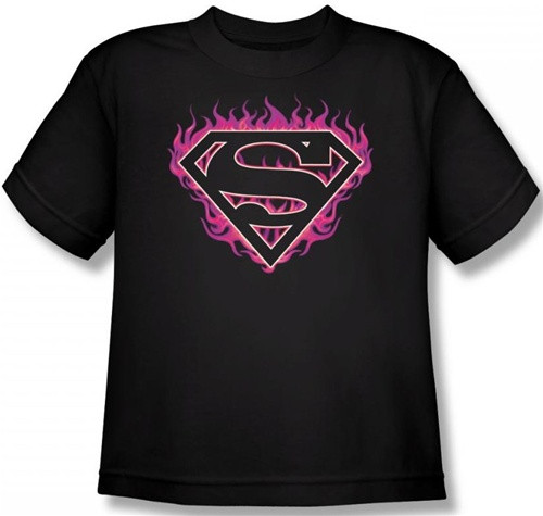 Image Closeup for Superman T-Shirt - Fuchsia Flames Shield Logo