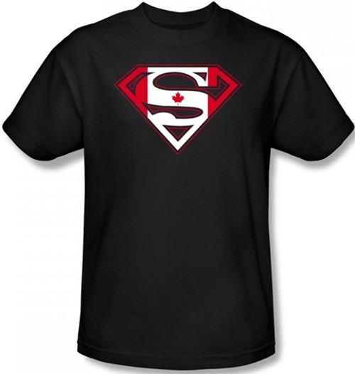Image Closeup for Superman T-Shirt - Canadian Flag Shield