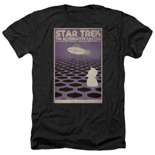 Image for Star Trek Juan Ortiz Episode Poster Heather T-Shirt - Ep. 27 the Alternative Factor on Black