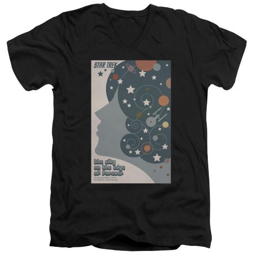Image for Star Trek Juan Ortiz Episode Poster V Neck T-Shirt - Ep. 28 the City on the Edge of Forever on Black