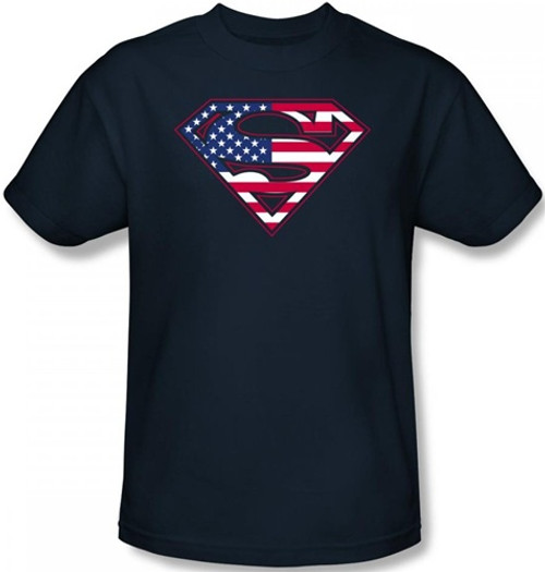 Image Closeup for Superman T-Shirt - U.S. Flag Shield