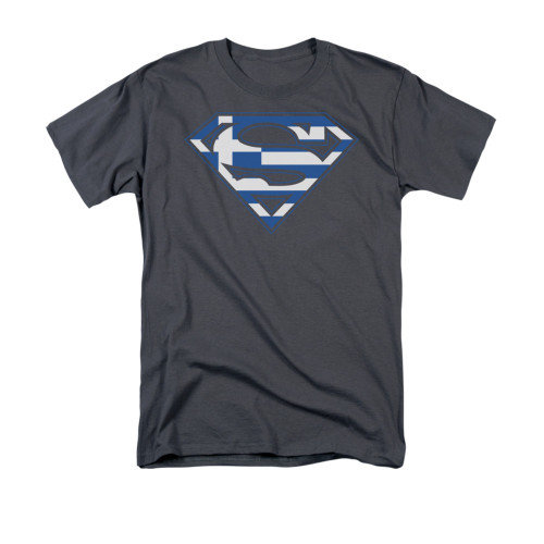 Image for Superman T-Shirt - Greek Flag Shield