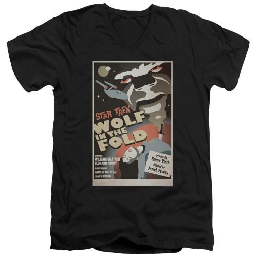 Image for Star Trek Juan Ortiz Episode Poster V Neck T-Shirt - Ep. 43 Wolf in the Fold on Black