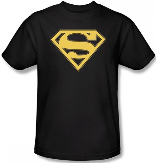 Image Closeup for Superman T-Shirt - Gold & Black Shield Logo