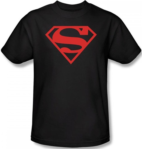 Image Closeup for Superman T-Shirt - Red on Black Shield Logo
