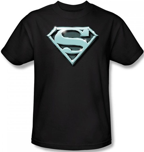Image Closeup for Superman T-Shirt - Chrome Shield Logo