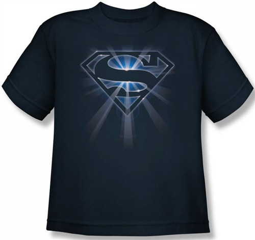 Image for Superman Youth T-Shirt - Glowing Shield Logo