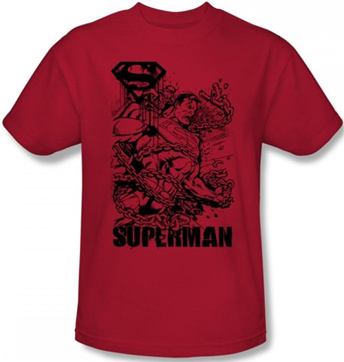Image Closeup for Superman T-Shirt - Breaking Chains Angry