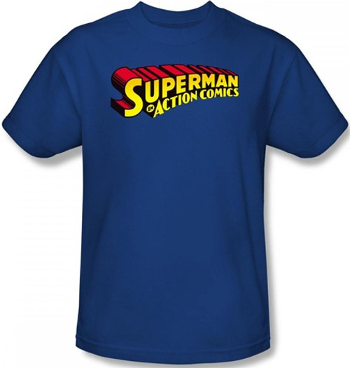 Image Closeup for Superman T-Shirt - Superman in Action Comics Logo