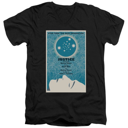 Image for Star Trek the Next Generation Juan Ortiz Episode Poster V Neck T-Shirt - Season 1 Ep. 8 Justice on Black