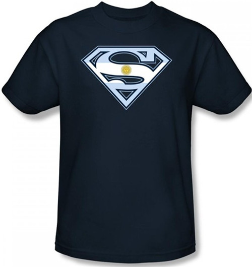 Image Closeup for Superman T-Shirt - Argentinian Flag Shield