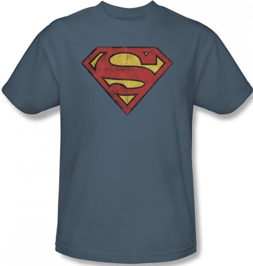 Image Closeup for Superman T-Shirt - Gritty Shield Logo