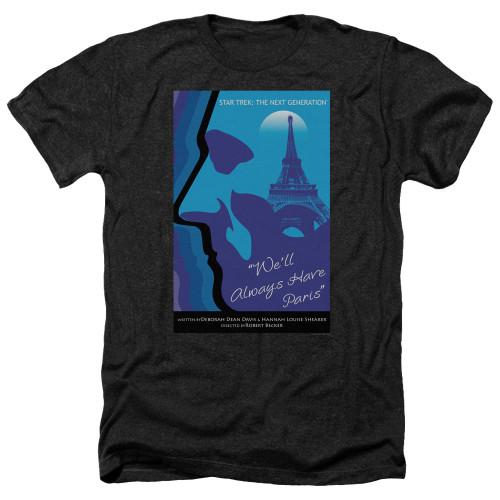 Image for Star Trek the Next Generation Juan Ortiz Episode Poster Heather T-Shirt - Season 1 Ep. 24 We'll Always Have Paris on Black