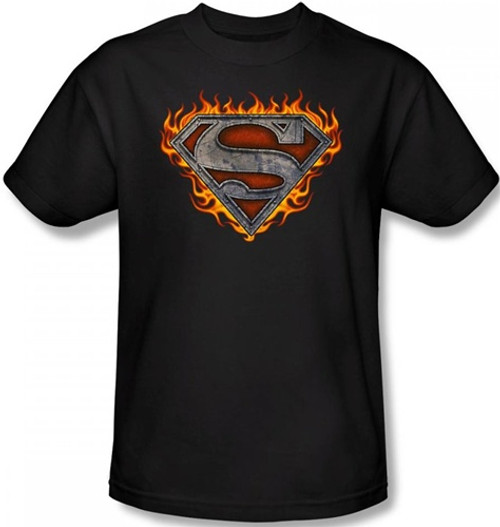 Image Closeup for Superman T-Shirt - Iron Fire Shield Logo