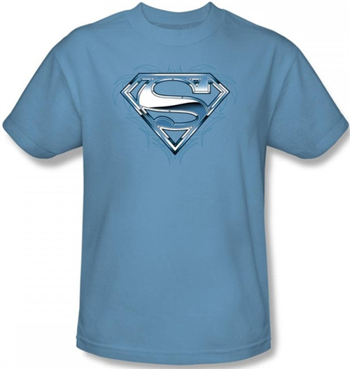 Image for Superman T-Shirt - Tribal Chrome Shield Logo