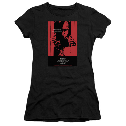 Image for Star Trek the Next Generation Juan Ortiz Episode Poster Juniors T-Shirt - Season 2 Ep. 2 Where Silence Has Lease on Black