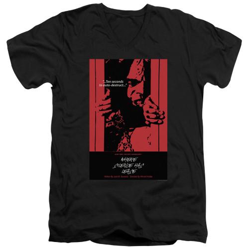 Image for Star Trek the Next Generation Juan Ortiz Episode Poster V Neck T-Shirt - Season 2 Ep. 2 Where Silence Has Lease on Black