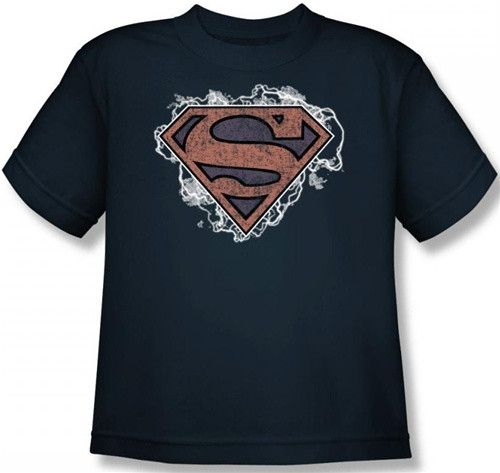 Image for Superman Youth T-Shirt - Storm Cloud Supes Logo