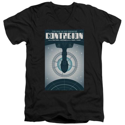 Image for Star Trek the Next Generation Juan Ortiz Episode Poster V Neck T-Shirt - Season 2 Ep. 11 Contagion on Black
