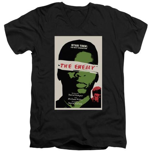 Image for Star Trek the Next Generation Juan Ortiz Episode Poster V Neck T-Shirt - Season 3 Ep. 7 the Enemy on Black