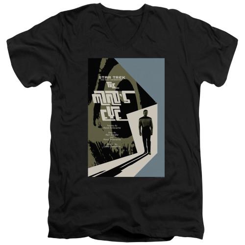 Image for Star Trek the Next Generation Juan Ortiz Episode Poster V Neck T-Shirt - Season 4 Ep. 24 the Mind's Eye on Black