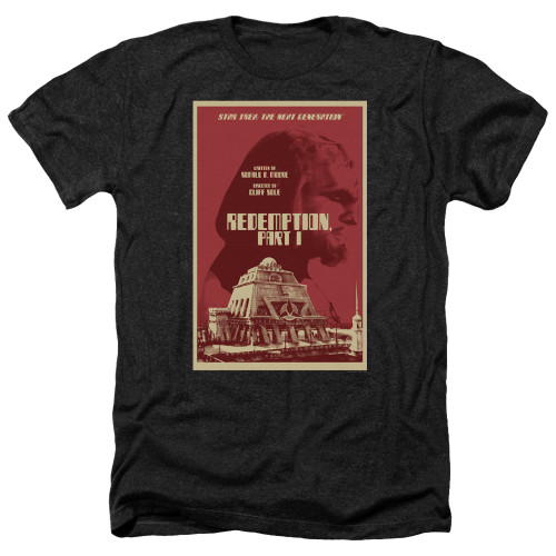 Image for Star Trek the Next Generation Juan Ortiz Episode Poster Heather T-Shirt - Season 4 Ep. 26 Redemption Part I on Black
