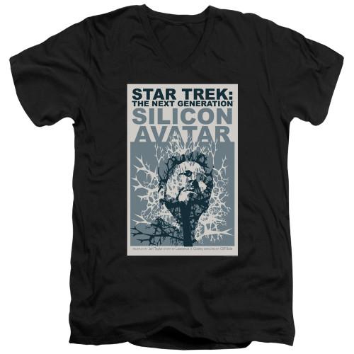 Image for Star Trek the Next Generation Juan Ortiz Episode Poster V Neck T-Shirt - Season 5 Ep. 4 Silicon Avatar on Black