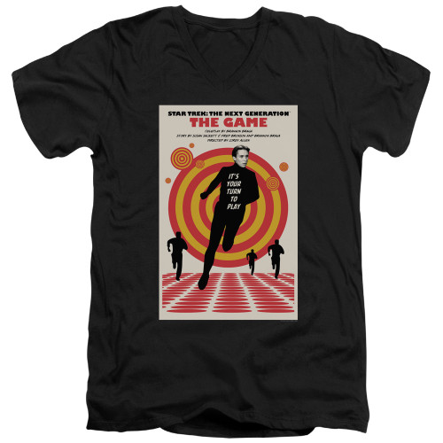 Image for Star Trek the Next Generation Juan Ortiz Episode Poster V Neck T-Shirt - Season 5 Ep. 6 the Game on Black