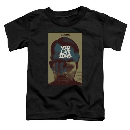 Image for Star Trek the Next Generation Juan Ortiz Episode Poster Toddler T-Shirt - Season 5 Ep. 12 Violations on Black