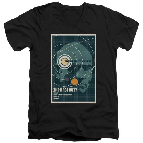 Image for Star Trek the Next Generation Juan Ortiz Episode Poster V Neck T-Shirt - Season 5 Ep. 19 the First Duty on Black