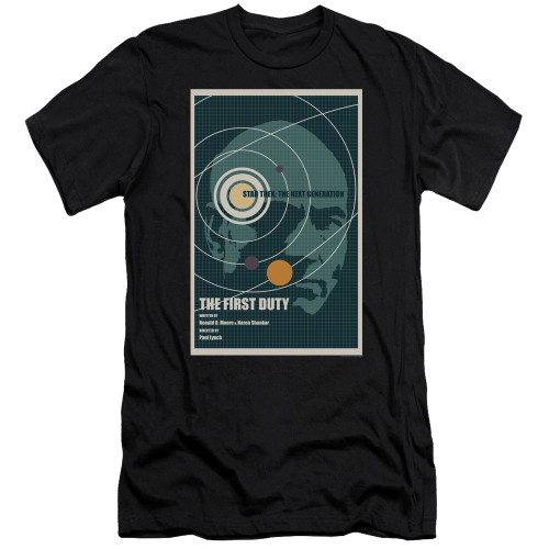 Image for Star Trek the Next Generation Juan Ortiz Episode Poster Premium Canvas Premium Shirt - Season 5 Ep. 19 the First Duty on Black