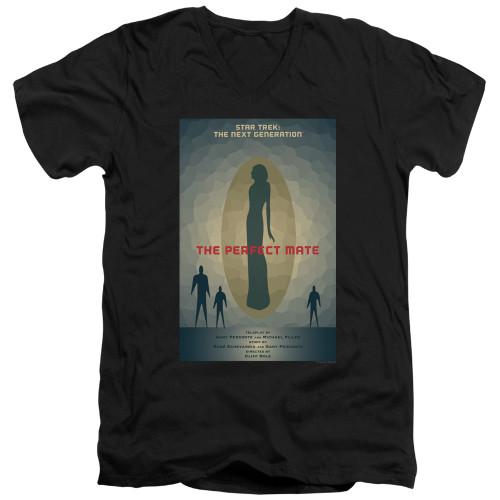 Image for Star Trek the Next Generation Juan Ortiz Episode Poster V Neck T-Shirt - Season 5 Ep. 21 the Perfect Mate on Black