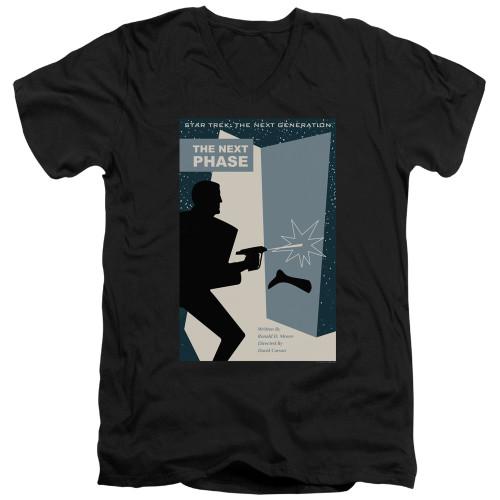 Image for Star Trek the Next Generation Juan Ortiz Episode Poster V Neck T-Shirt - Season 5 Ep. 24 the Next Phase on Black