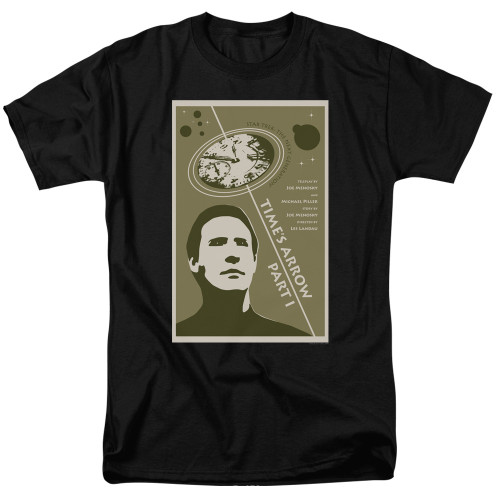 Image for Star Trek the Next Generation Juan Ortiz Episode Poster T-Shirt - Season 5 Ep. 26 Time's Arrow Part I on Black
