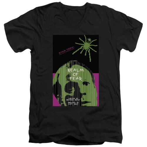 Image for Star Trek the Next Generation Juan Ortiz Episode Poster V Neck T-Shirt - Season 6 Ep. 2 Realm of Fear on Black
