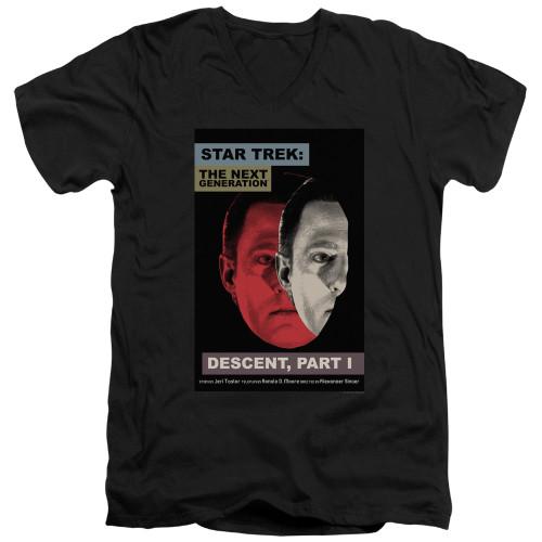 Image for Star Trek the Next Generation Juan Ortiz Episode Poster V Neck T-Shirt - Season 6 Ep. 26 Descent Part I on Black